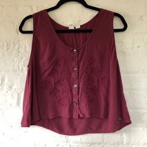 Roxy | Cropped Embroidered Maroon Tank